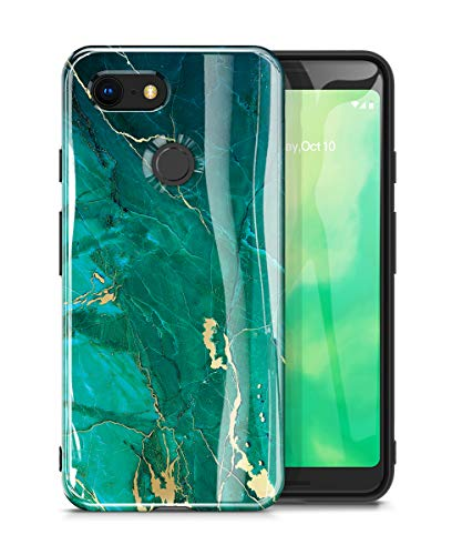 GVIEWIN Marble Google Pixel 3 Case, Ultra Slim Thin Glossy Soft TPU Rubber Gel Phone Case Cover Compatible Google Pixel 3 Only (Will Not fit Pixel 3 XL) (Green/Gold)