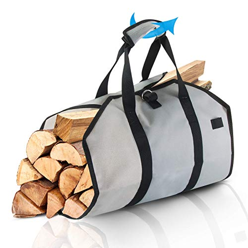 tEEZErshop Firewood Carrier Bag Waterproof Canvas Log Carrier Tote Fireplace Carrier Accessories Foldable Carrier Tote with Shoulder Strap and Handles Contained for Indoor Outdoor Fireplace Camping