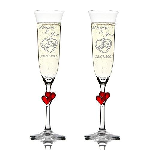 Stölzle Lausitz Amour Ensemble de 2 coupes à champagne avec gravure personnalisée motif – Dans le cœur double anneaux Coeur
