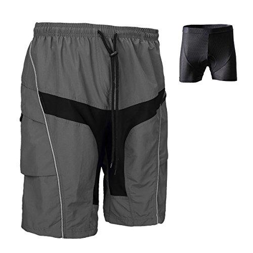 Santic Men's Mountain Bike Shorts Loose-fit Coolmax Lightweight Padded Cycling MTB Shorts XL