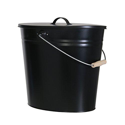 Mehrzweckeimer als Ascheeimer mit Deckel-Kaminzubehör zum Transportieren und Abkühlen von heißer Glut und Asche-Größe: 24 Liter/Farbe:Schwarz