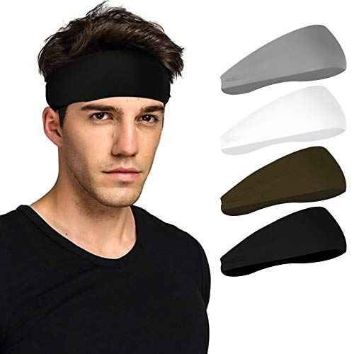 Deilin Headbands for Men and Women (4 Pack), Non Slip Lightweight Moisture Wicking Mens Headband Sweat Band Workout Hairband Helmet Friendly Sweatbands for Football, Cycling, Running, Yoga