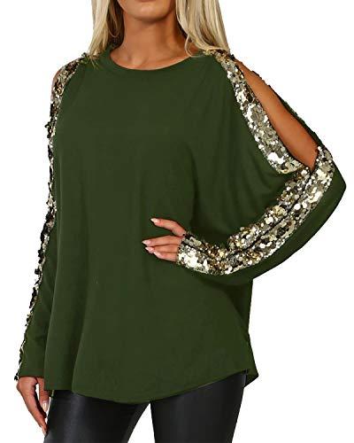 YOINS - Camiseta de manga larga para mujer, con lentejuelas brillantes Nuevo Ejército Verde S