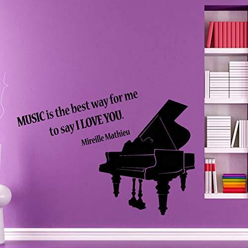 JXNY Klavier Wandtattoo Zitat Musik ist der Beste Weg für Mich zu Sagen Ich Liebe Dich Home Interior Design Vinyl Aufkleber Wandkunst Wanddekoration 87cmx58cm