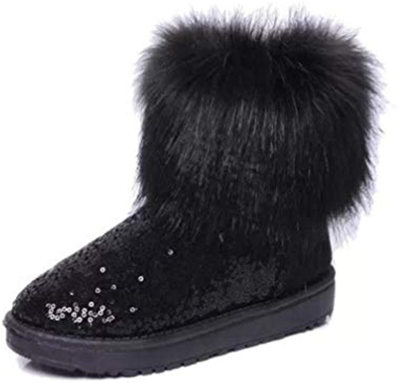 T-JULY Women Imitation Fox Fur Boots Waterproof Snow Warm Thick Soles shoes Girls Sequins Black Warm Boots