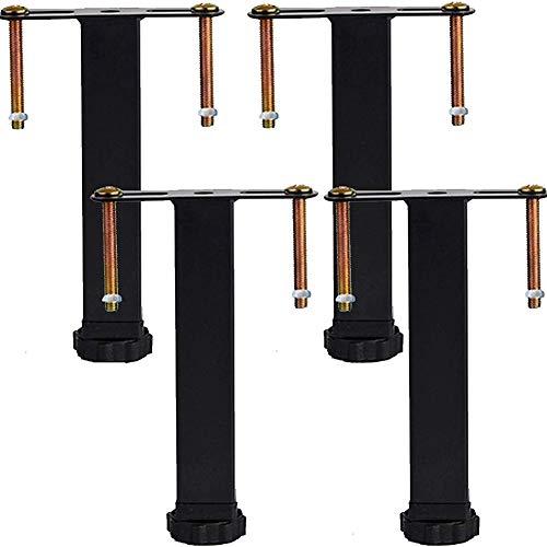 Cakunmik 4 Stück-Metall Möbelfüße,Metall Möbelbeine Bettfüße Metall Stützfüße,Höhenverstellbar 0-2cm,ABS Kunststofffüße,Bettrahmenzubehör,10cm