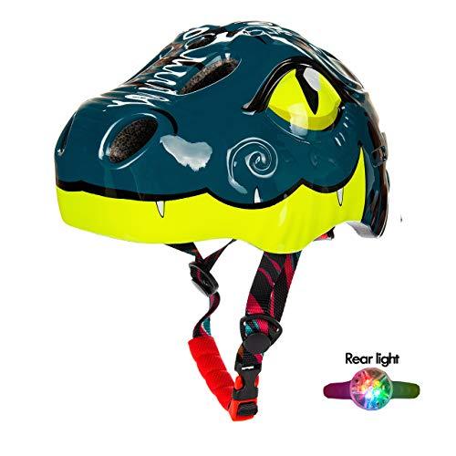 Natuway Toddler Kids Dinosaur Bike Helmet 2-6yr Boy Girl with Taillight Fun Bicycle Skate Helmet Blue