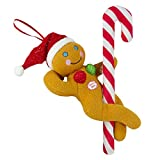 Tekky Naughty Dirty Signing Gingerbread Pole Dancer Tree Ornament, White Elephant, Tan