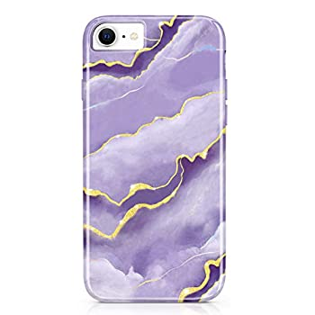 KrueenGemmes iPhone SE2 iPhone 7 iPhone 8 iPhone 6 iPhone 6S Case Gold Sparkle Glitter Marble Protective Cute Slim Cases Cover TPU Silicone Shockproof Camera and Screen Bumper - Purple Violet