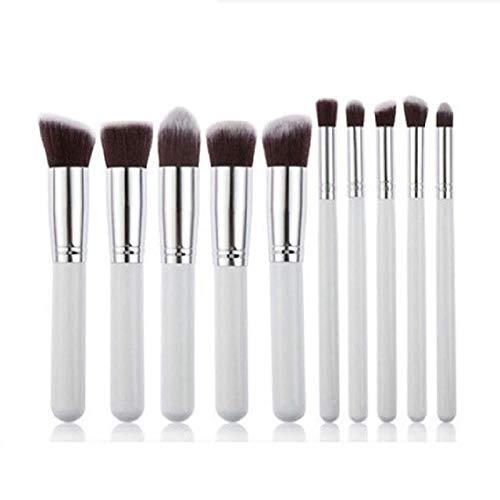 MEISINI Makeup Brush Soft Nature Hair Women Facial Beauty Tools Powder Eyeshadow Blush Kit, White Silver