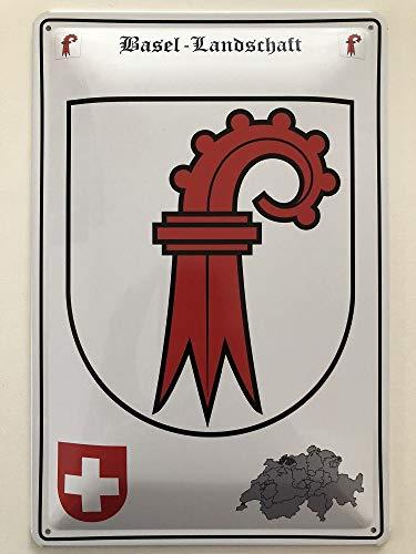 Deko 7 Blechschild 30 x 20 cm Wappen Schweiz - Kanton Basel Landschaft