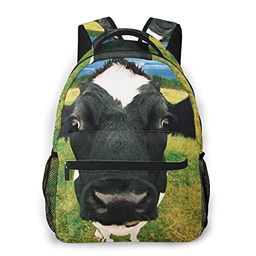 Divertido negro vaca impresión mochila impresión portátil impermeable antirrobo mochila casual bolsa USB puerto de carga mochila unisex