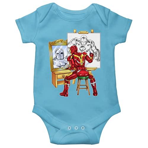 OKIWOKI Iron Man Lustiges Blau Kurzärmeliger Baby-Bodysuit (Jungen) - Iron Man und Tony Stark (Iron Man Parodie signiert Hochwertiges Baby-Bodysuit in Größe 9 monate - Ref : 1166)
