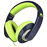 Rockpapa Comfort+ Adjustable Over Ear Headphones Earphones with Microphone in-line Volume for Adults Kids Childs Teens, Smartphones Laptop Tablet DVD MP3/4 in Car/Airplane Navy