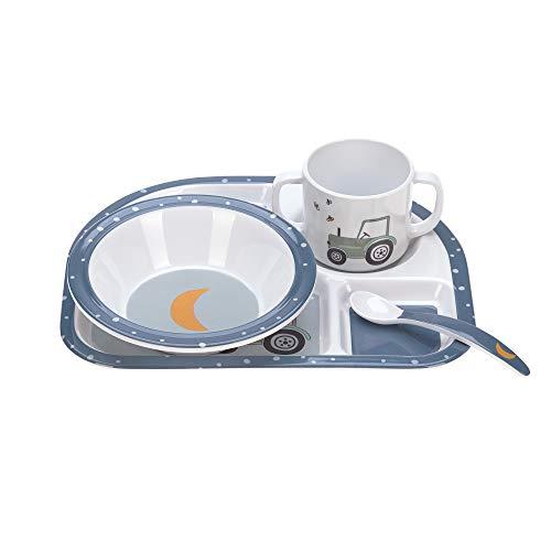 LÄSSIG Kindergeschirr Set mit Schüssel Tasse Löffel Teller rutschfest Melamin/Dish Set Adventure Tractor, blau
