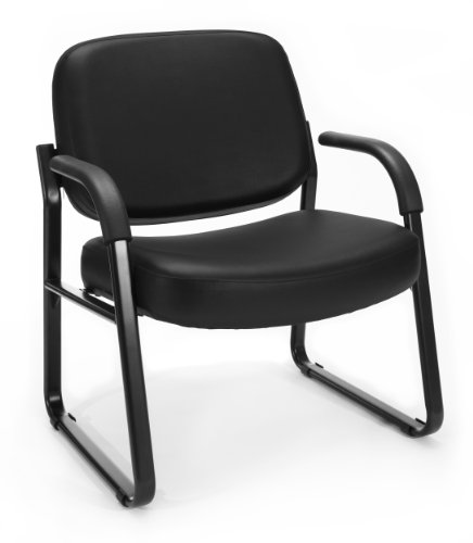OFM Model 407-VAM Big and Tall Guest and Reception Chair with Arms, Anti-Microbial/Anti-Bacterial Vinyl, Mid Back, Black