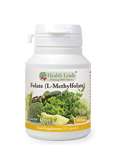 Folate (L-Methylfolate) 1000μg x 90 Capsules, 5-MTHF Active Form of Folic Acid/Vitamin B9, Please See Our 400mcg Version for Pregnancy, Magnesium Stearate Free, Made in Wales