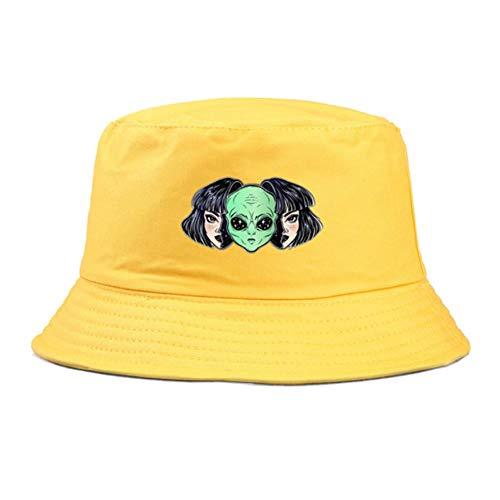 Sombrero Pescador Panamá Cubo Sombreros Hombres Mujeres Cubo De Verano Cap Moda Impresión Sombrero Hip Hop Pesca Pescador Sombrero-Yellow,56-58 Cm