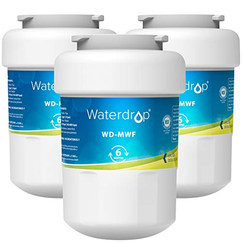 Waterdrop MWF Refrigerator Water Filter, Replacement for GE Smart Water MWF, MWFINT, MWFP, MWFA, GWF, HDX FMG-1, GSE25GSHECSS, WFC1201, RWF1060, 197D6321P006, Kenmore 9991, 3 filters
