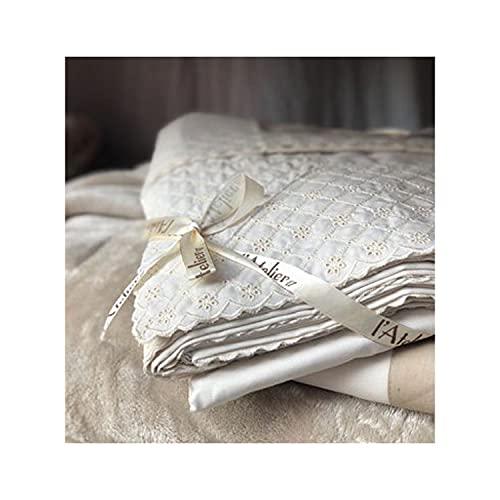 L'ATELIER17 Juego de sábanas para cama de matrimonio de algodón con diseño de corales, 3 variantes de encaje San Gallo blanco