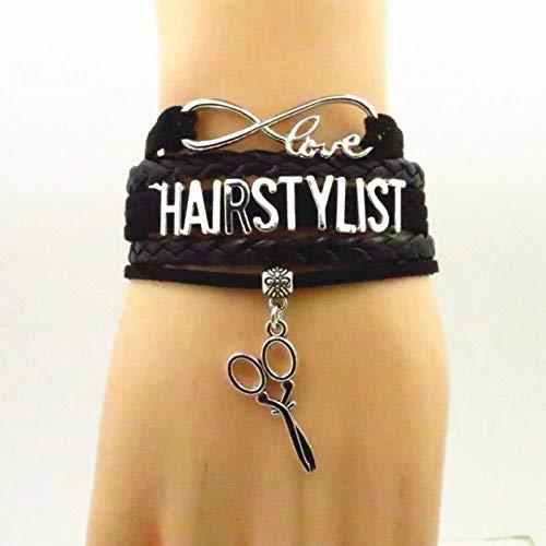 WODESHENGRI Armbänder,Handgefertigte Scheren Charme Hairstylist Hairstylist Armband Armband Schwarz Braun Grün Friseur Armreif