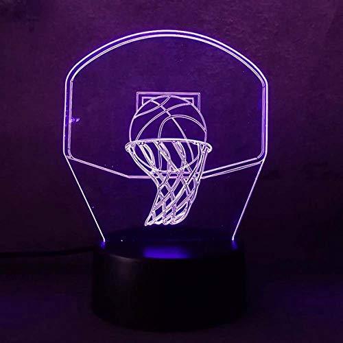 Ilusión Óptica Mágica Lámpara 3D Lámpara Nocturna USB Led 7 colores Lámparas de Baloncesto Ligeras regalo de Navidad chico Lámpara Ambiental USB recargable fanáticos de baloncesto Presente H USB y Son