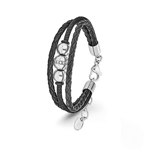 s.Oliver Damen Lederarmband mit Anhänger Edelstahl Swarovski Kristalle schwarz mehrreihig längenverstellbar 17+3cm