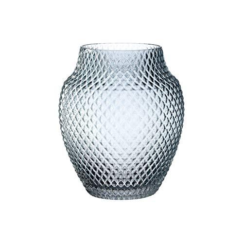 Leonardo Poesia Tisch-Vase, handgefertigte Deko-Vase in Blau, bauchige Blumen-Vase, Kerzen-Halter aus Glas, großes Windlicht, 23 cm hoch, 018672