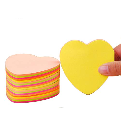 Guzon Heart Shape Sticky Notes, Memo Notes 3 x 3-Inches,100 Sheets Per Pad Pack of 6 Pads