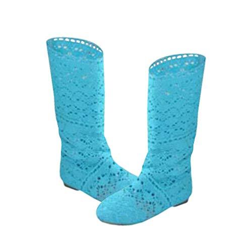 Mxssi Damen Stiefel für Kleid Schuhe Spitze Hohlstiefel Crochet Aushöhlen Chunky Flache Fersen Knie Leichte Stiefel Weiß Schwarz