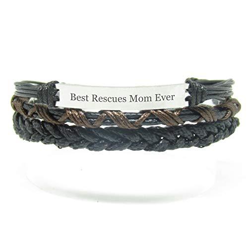 Miiras Handgemachtes Armband für Frauen - Best Rescues Mom Ever - Schwarz - Aus Geflochtenes Seil und Rostfreier Stahl - Geschenk für Rettet Mama