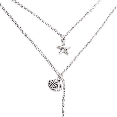 Vintage Starfish-Shell Fish-Tail Multi-layer Necklace Women Banquet Party Necklace Gifts Jewlery for Women, Necklaces for Women - Antique Silver