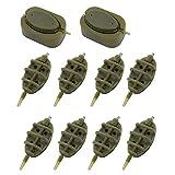 Seahelms 10 alimentadores de pesca en línea, con molde de liberación rápida para accesorios de pesca de carpas, 15 g, 20 g, 25 g, 35 g, 30 g, 40 g, 50 g, 60 g