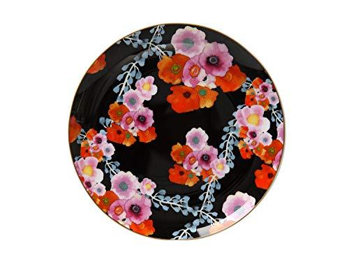 Maxwell & Williams Cashmere Bloems Assiette en porcelaine anglaise avec boîte Motif floral Noir, Porcelaine, Noir , 19 cm