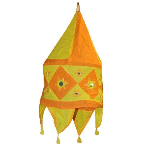 Pantalla lámpara India amarillo-naranja 48 cm algodón oriental para colgar iluminación interior decoración
