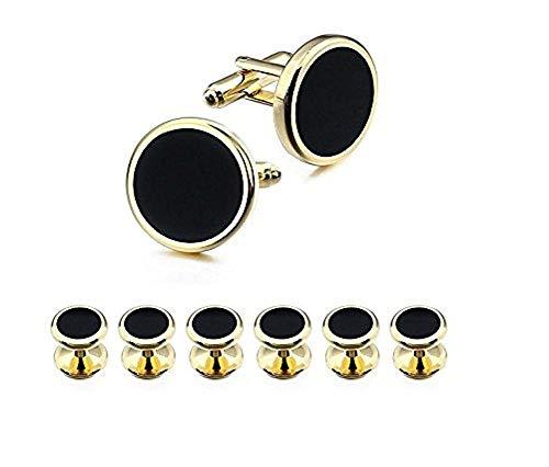 Ducomi® Manschettenknöpfe Set und 6 Hemdknöpfe für Männer - Koordiniertes und Elegantes Accessoire für Kleid und Smoking ideal für Geschäftstreffen und besondere Anlässe (Gold/Black)
