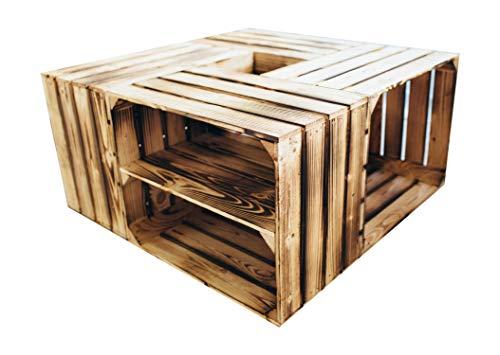 Set van 4 houten kistjes, 50 x 40 x 30 cm, nagelt niet geklonken – in verschillende variaties – ideaal als salontafel, om op te bergen of gewoon leuke decoratie.
