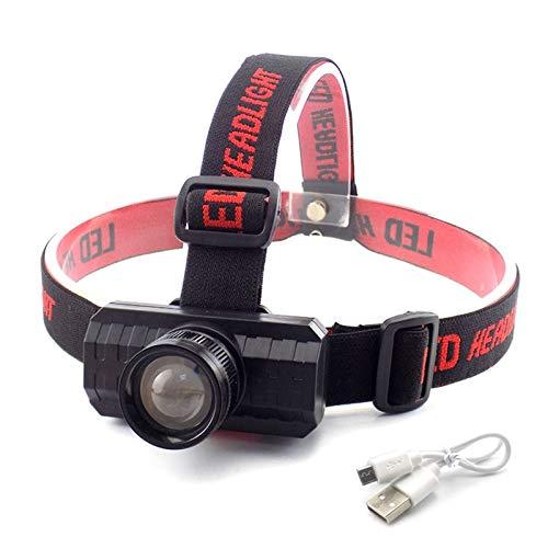 DONGMAISM USB Recargable Q5 LED Cabeza de Cabeza Cabeza de Cabeza luz Zoom lámpara Noche iluminación Acampada antorcha Potente Linterna Frontal Ajustable (Emitting Color : Black with USB Cable)