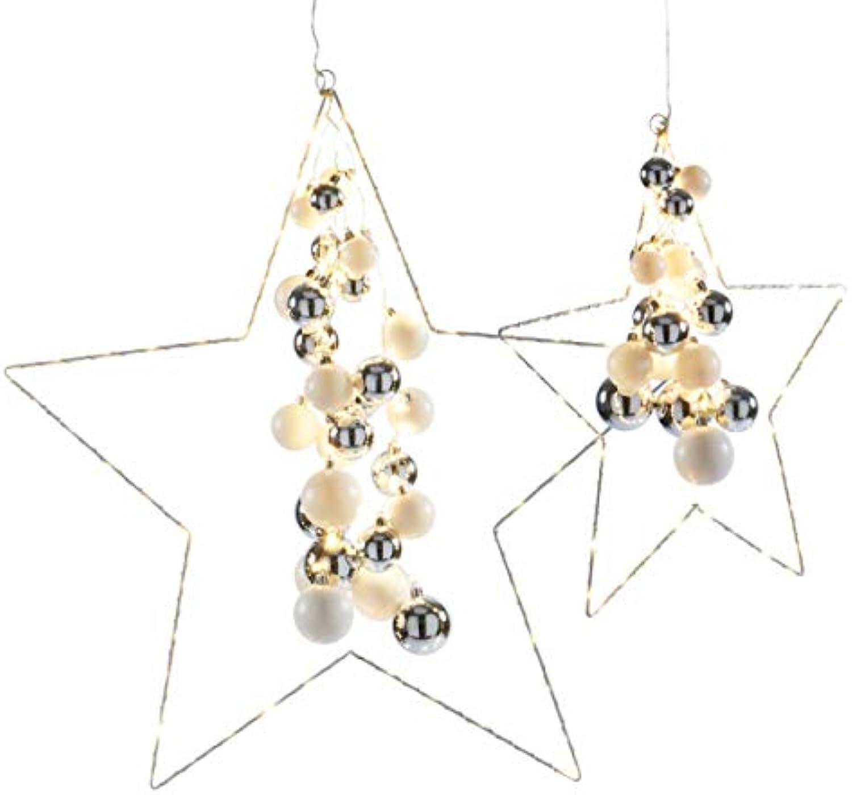 Weihnachtsdeko - Dekoobjekt Starlight - LED-Sterne mit Kugeln - Silber Wei - gro
