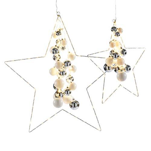 Weihnachtsdeko - Dekoobjekt Starlight - LED-Sterne mit Kugeln - Silber Weiß - groß