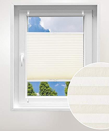 Laneetal Plissee ohne Bohren Klemmfix, Jalousie Faltrollo Crushed Optik, Creme 45 x 130 cm, mit Spannschue für Fenster und Tür, Easyfix klemmträger und verspannt, Sonnen-, Sicht- & Schallschutz