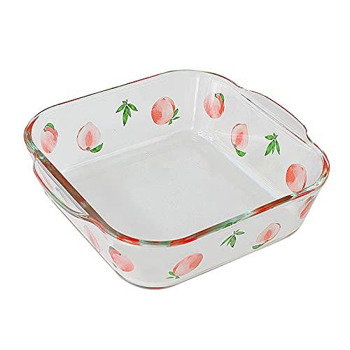 Juegos De Utensilios Para Hornear Plato de hornear cuadrado de cristal - 3 Tamaño - Casserole Bakeware - Manijas de agarre para facilitar el horno caliente a la mesa Banquete de cocina de uso diario