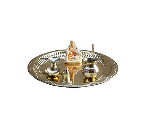 Dekor World Polyresin & Brass Om Sai Puja Thali (Silver, Standard, 7 Piece)