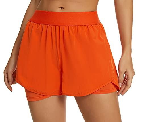 Custer's Night Women's Running Short Workout Athletic Jogging Shorts 2-in-1 Orange XL