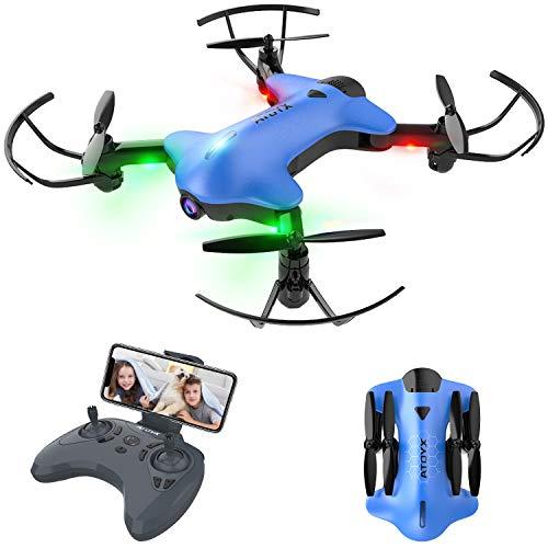 Drohne mit Kamera 720P, Drohne Faltbar RC Quadcopter WiFi FPV in Echtzeit, Höhenlage halten, Headless-Modus, Flugbahnflug, Schwerkraftsensor, Beste Spielzeugdrohne für Kinder / Anfänger AT-146