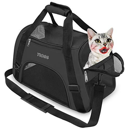 YLONG Transporttasche für Katzen und Hunde, von Fluggesellschaften zugelassen, weiche Seiten, tragbar, faltbar, für Haustiere, Fluggesellschaften zugelassen(M, Black)
