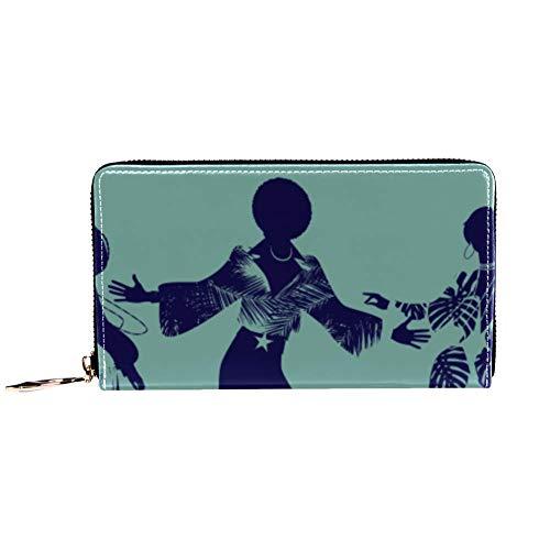 XCNGG Damen Reißverschluss um Brieftasche und Telefon Clutch, Reisetasche Leder Clutch Bag Kartenhalter Organizer Wristlets Wallets, Tänzer der Seele Funk oder Disco