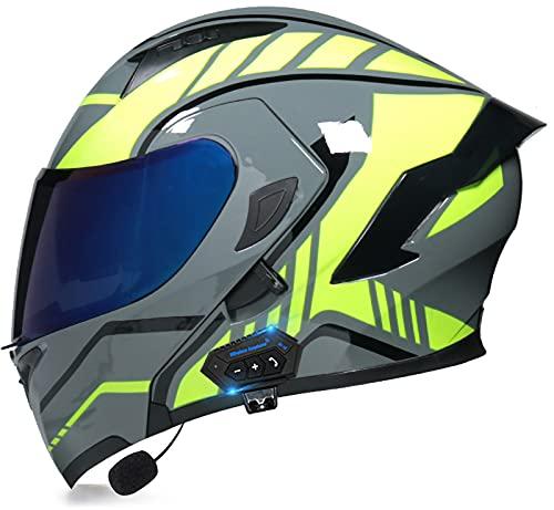Casco Bluetooth Motocicleta Tipo Abatible,Casco para Motocicleta Casco Motocicleta Bluetooth Modular Integrado,Certificación ECE con Lente Dual Antivaho,Micrófono Incorporado I,L=(57-58CM)