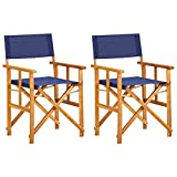 vidaXL 2X Akazienholz Massiv Regiestuhl Gartenstuhl Holzstuhl Klappstuhl Campingstuhl Stuhl Gartenmöbel Faltstuhl Sessel Regiestühle Blau