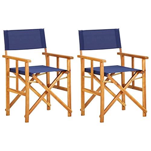 Irfora Sillas Plegables de jardín,Sillas de Director 2 Unidades Madera Maciza de Acacia Azul 55 x 56 x 88 cm